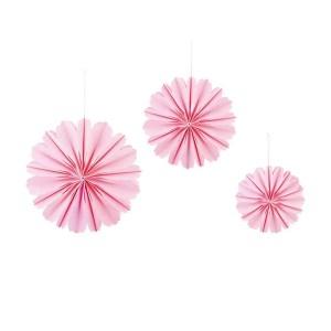 Addobbo sfere di petali rosa da appendere set da 3 pezzi-0