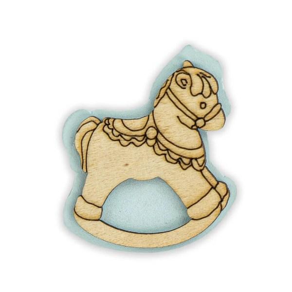Bomboniera applicazione cavallo a dondolo celeste