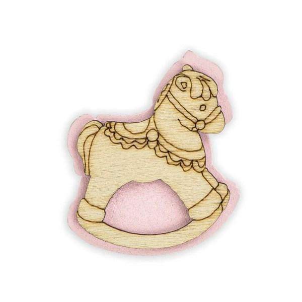 Decorazione bomboniera cavallo a dondolo rosa