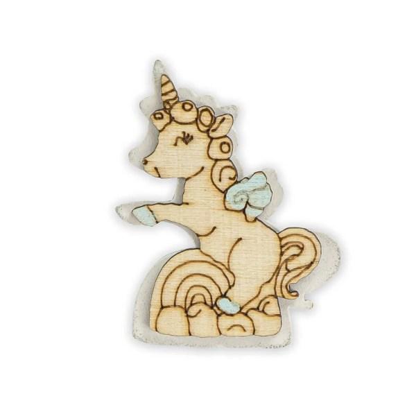 Decorazione in legno unicorno celeste