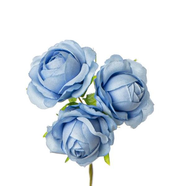Decoro bomboniera rosetta celeste