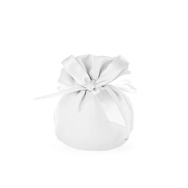 Portaconfetti in raso con fiocco bianco