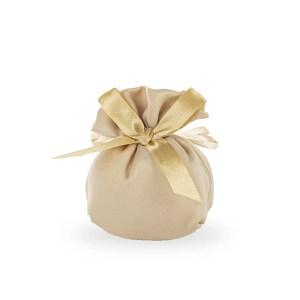 Bomboniera portaconfetti in raso con fiocco beige