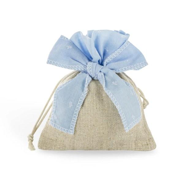 Bomboniera sacchetto con fiocco celeste