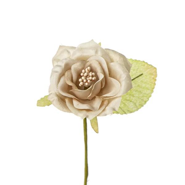Applicazione fiore con pistilli e foglia beige