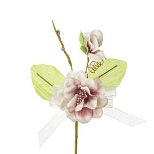 Decoro bomboniera fiore nascente con due foglie colore rosa antico