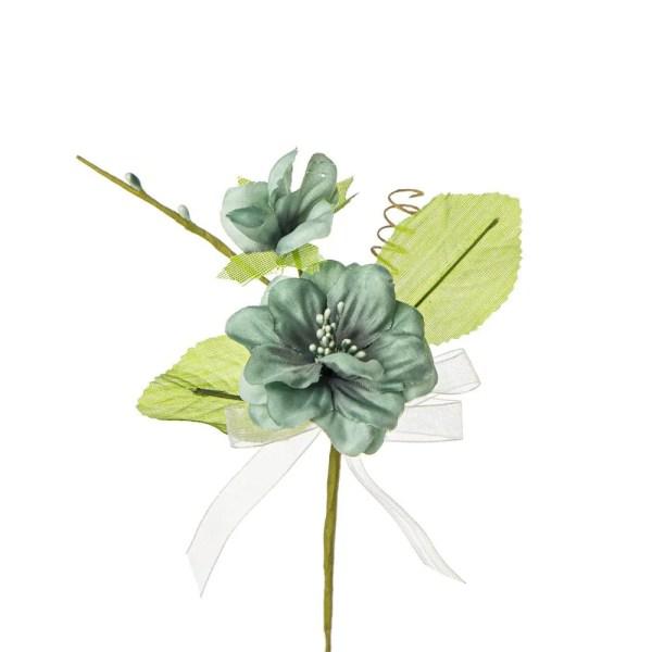Decorazione bomboniera fiore nascente con due foglie colore verde petrolio