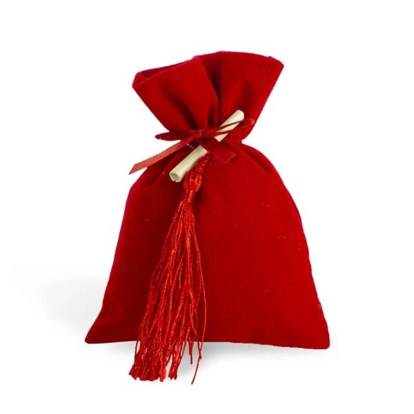 Bomboniera portaconfetti in velluto rosso