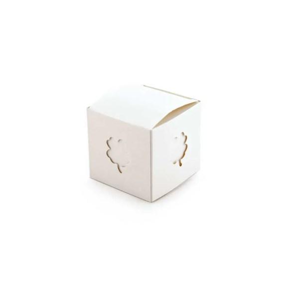 Scatola cubo portaconfetti in cartoncino con quadrifoglio-0