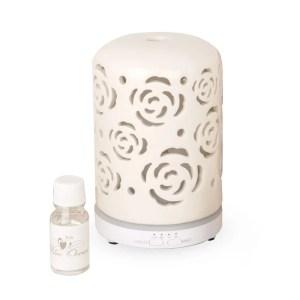 Bomboniera diffusore con led di profumo in ceramica con profumo e scatola-0