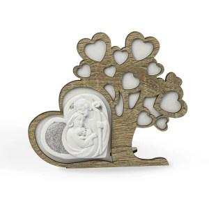 Bomboniera albero della vita in legno con applicazione sacra famiglia-0