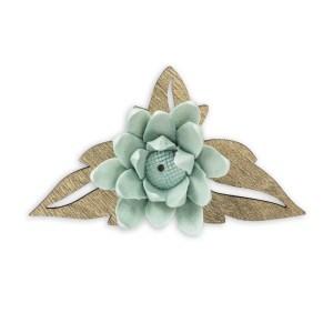 Bomboniera fiore di loro verde con foglie in legno-0