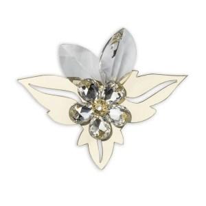 Bomboniera fiore in cristallo con foglie oro-0