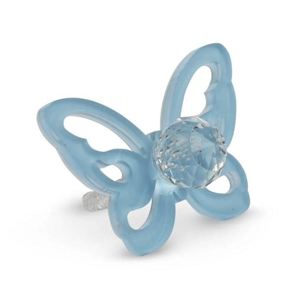 Decoro bomboniera ciuccio con farfalla azzurra-0