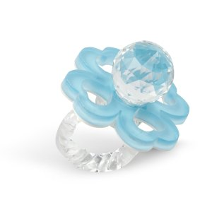 Ciuccio in cristallo con quadrifoglio celeste-0