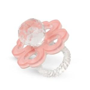 Bomboniera ciuccio in cristallo con quadrifoglio rosa-0