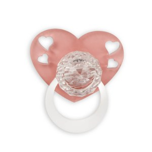Ciuccio in cristallo con cuore rosa-0