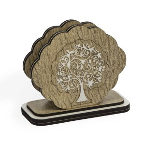 Bomboniera porta tovaglioli albero della vita in legno e laminato-0