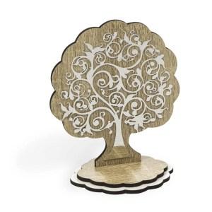 Bomboniea segnaposto albero della vita grande in legno e laminato-0