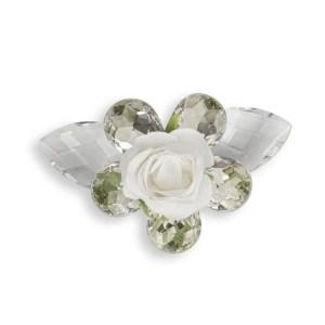 Bomboniera fiore 5 petali e rosellina bianca-0