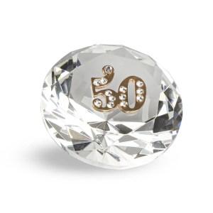 Bomboniera diamante in cristallo con applicazione 50°-0