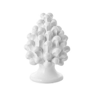 Bomboniera pigna bianca di Caltagirone h. 15 cm -0