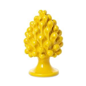 Bomboniera pigna di colore giallo | ceramiche di caltagirone H 15 cm-0