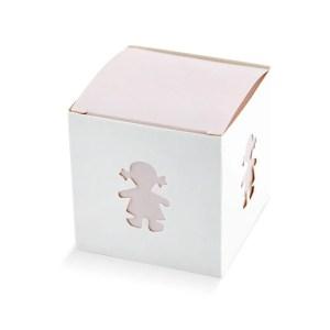 Scatola cubo portaconfetti in cartoncino nascita bambina-0