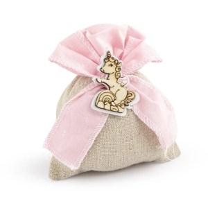 sacchetto con fiocco rosa con unicorno