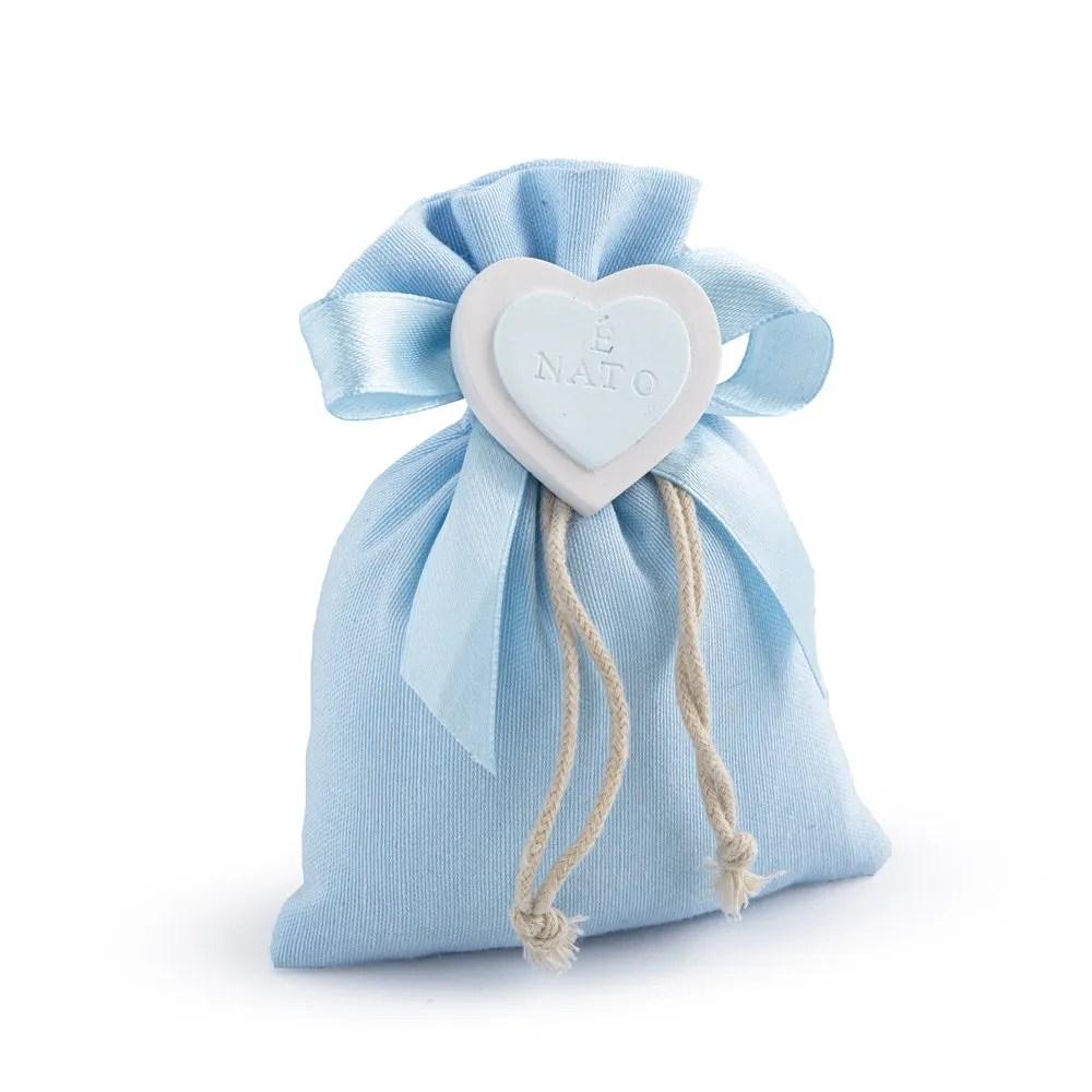 sacchetto cotone celeste con gesso cuore
