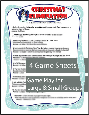 Christmas Elimination Trivia Game Printable Holiday Game