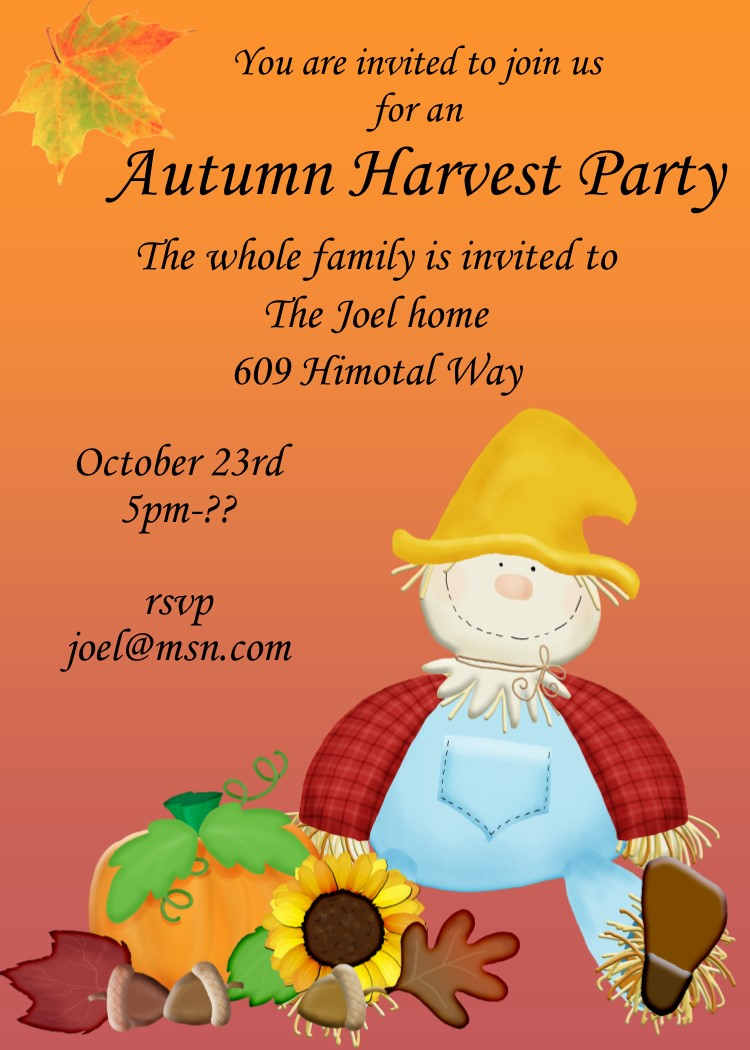 Scarecrow Fall Party Invitation