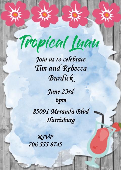luau party invitations tropical