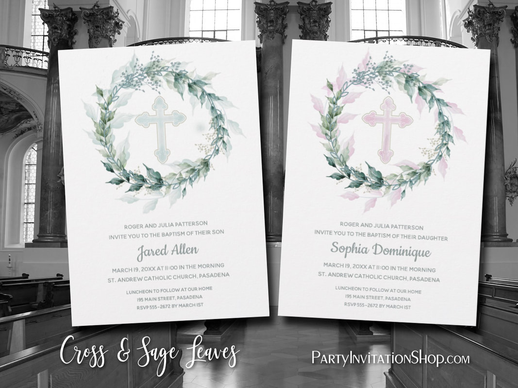 Cross And Sage Leaf Wreath First Communion PARTY