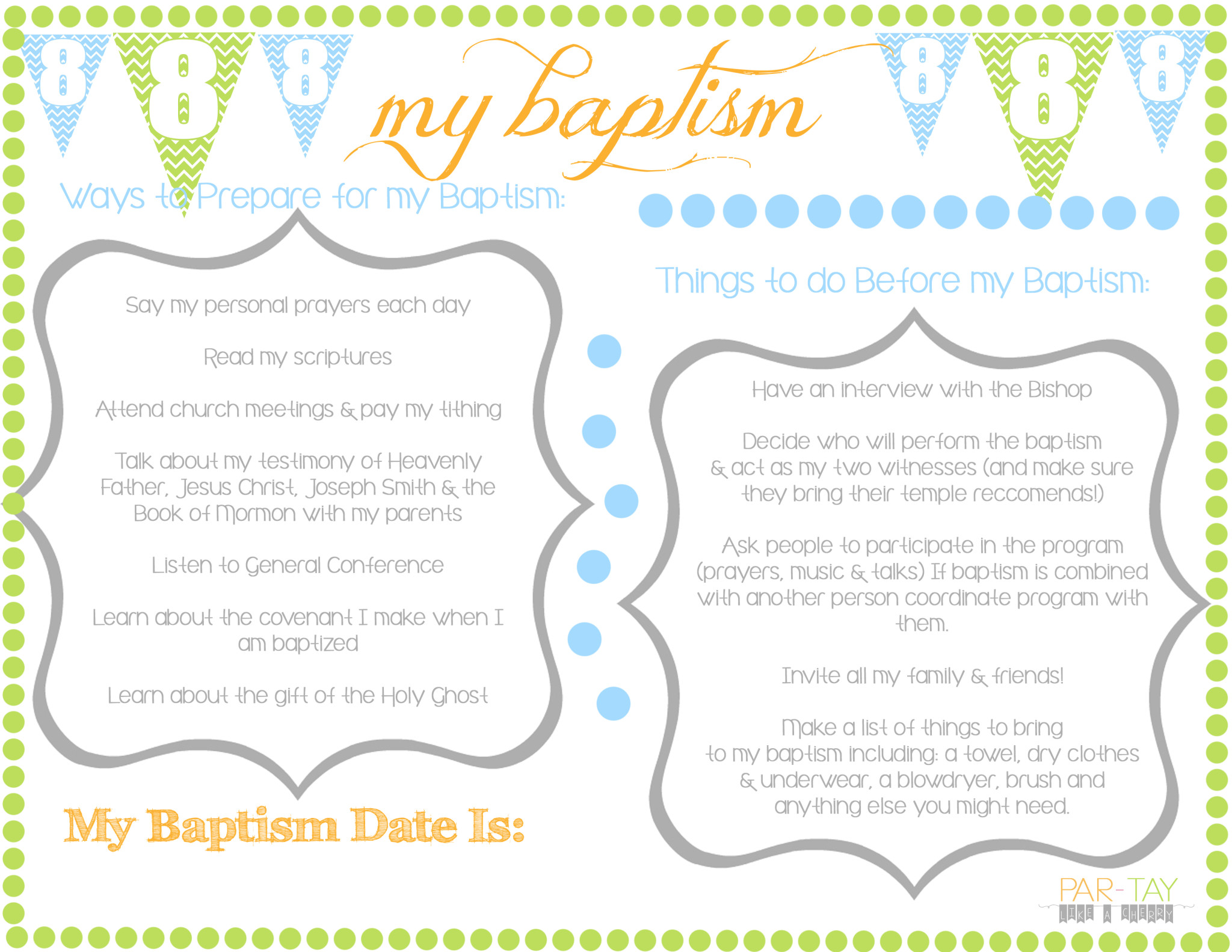 It S Great To Be 8 Birthday Party Amp Baptism Ideas
