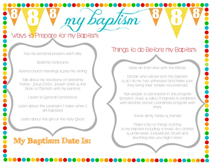 great to be 8 baptism preview rainbow handouts