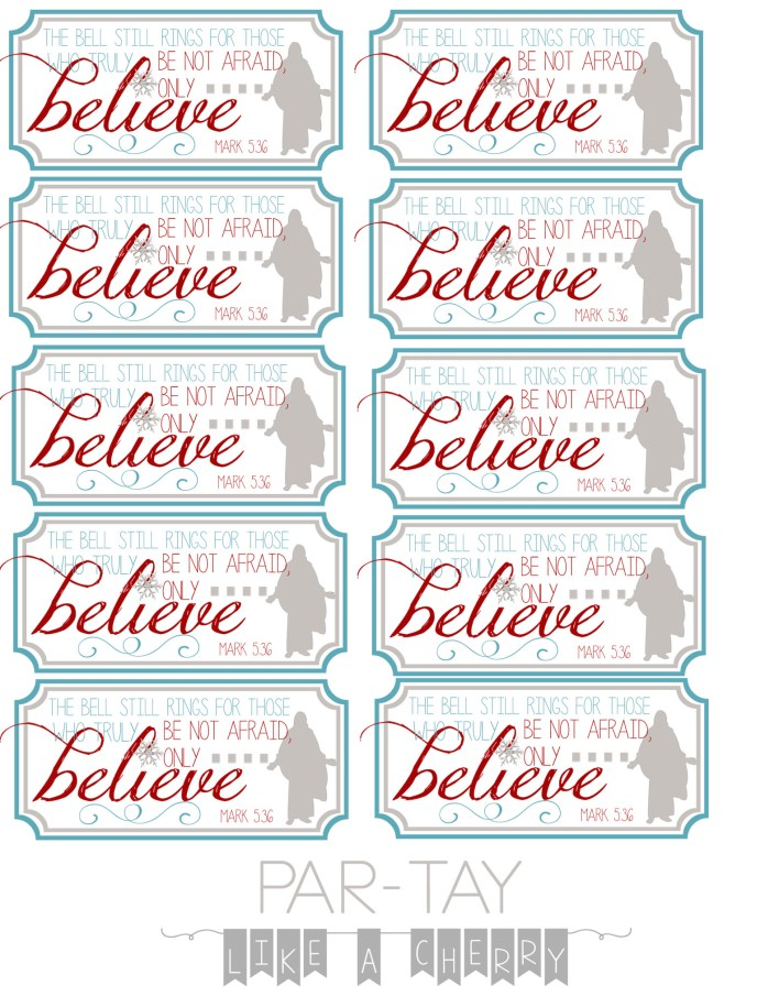 polar express party favor bell tags
