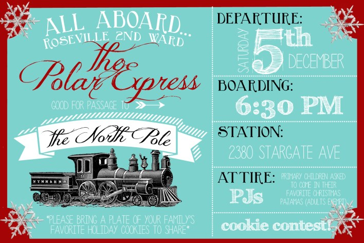 polar express party invitation example