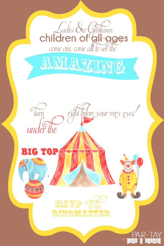 free editable circus birthday invitation, just download and add your personal details
