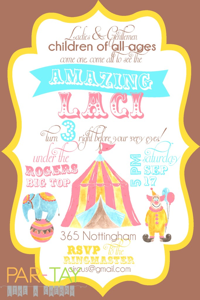 free editable girl circus invitation