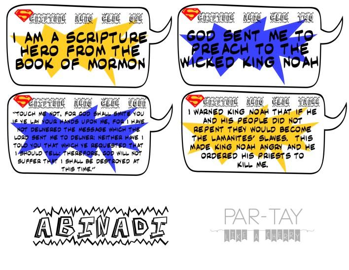 primary scripture hero clue cards for abinadi