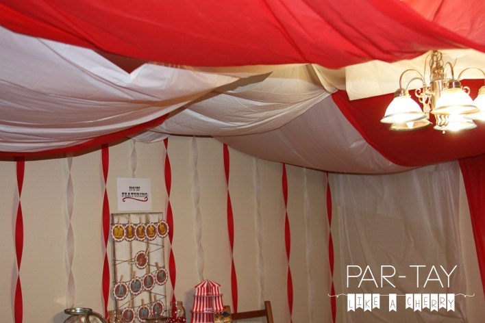 how to make a circus tent with dollar store tablecloths