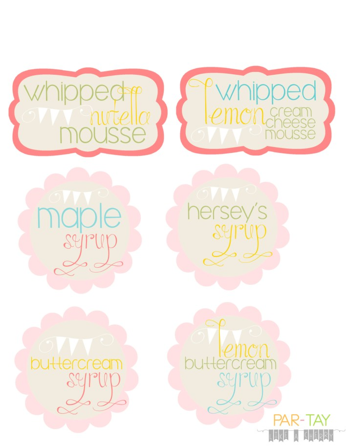 crepe buffet food labels free printables