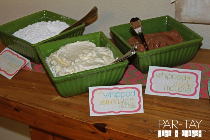 crepe buffet topping ideas and free printable food labels