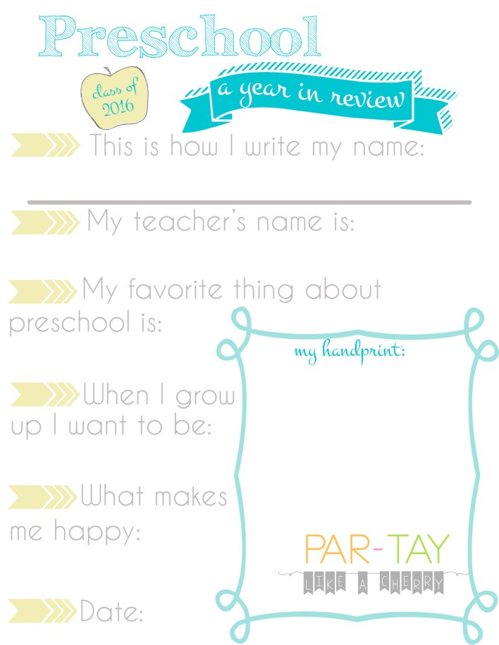 preschool questionnaire free printable