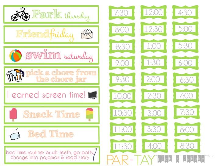 summer daily schedule strips