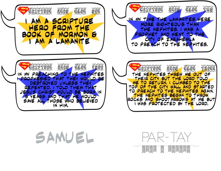 samuel the lamanite scripture hero clue cards for primary or family home evening lesson