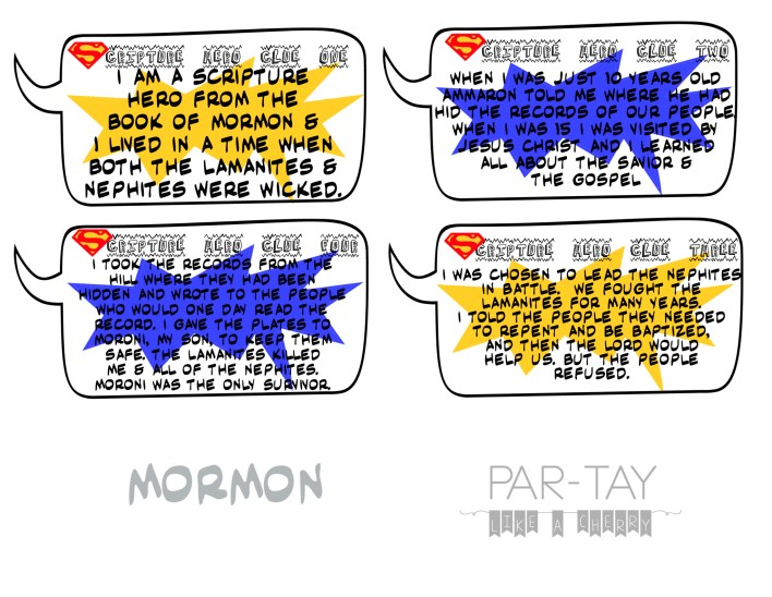 scripture hero clue cards- mormon