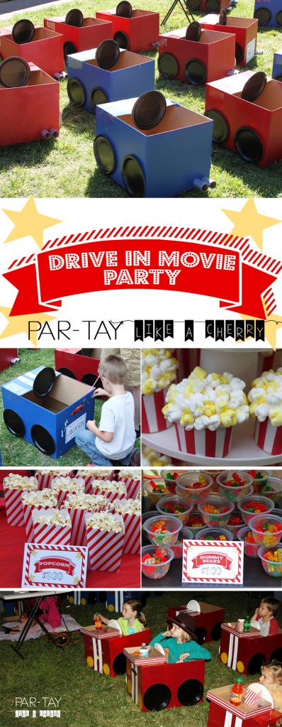 tons of ideas and free printables to throw your drive in movie party!