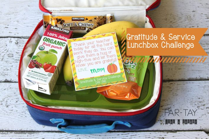 A fun and easy way to help teach your kids gratitude and service during the month of November! Leave them a note in their lunchbox each day leading up to Thanksgiving.